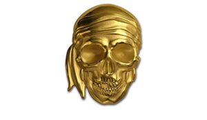 Gold Blackbeard Pirate Skull, 1 Troy Ounce (31.1g) .9999 Pure Gold, Only 300 Minted